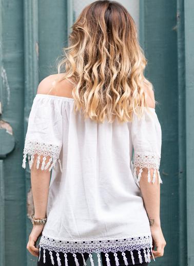 XHAN Dantelli Straplez Bluz 8Yxk2-30543-01 Beyaz
